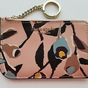 Kate Spade Floral Zip Around Keychain Wallet
